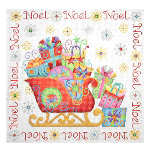 BB 0653 - Christmas Pillow - Sleigh with Noel Border
