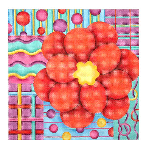 BB 0677 - Pillow - Red Flower on Patchwork Background