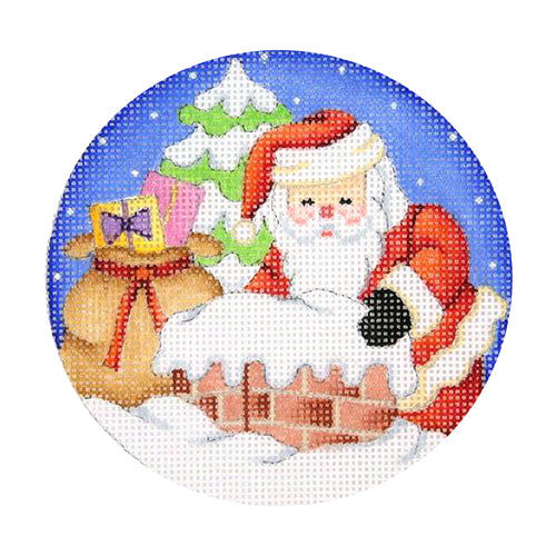 BB 0684 - Snow Scene - Santa Going Down Chimney
