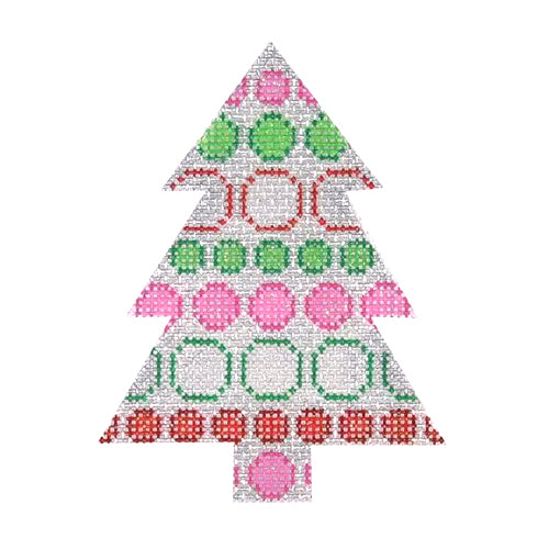 BB 0752 - Mini Tree - Silver with Pink, Green & Red Dots