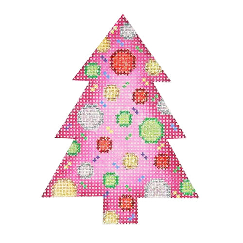 BB 0756 - Mini Tree - Pink with Multicolor Dots