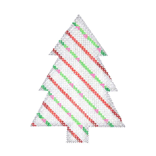 BB 0758 - Mini Tree - Silver with Green & Red Stripes
