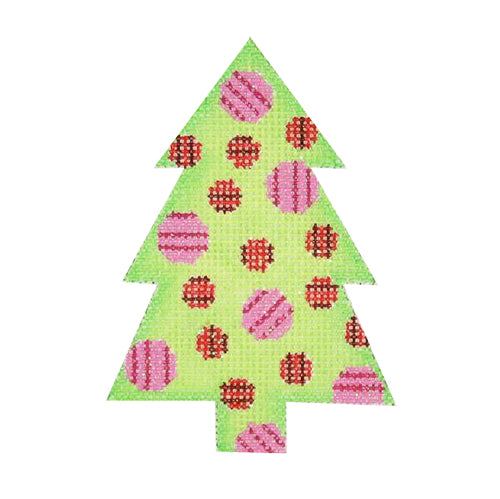 BB 0762 - Mini Tree - Green with Pink & Red Circles