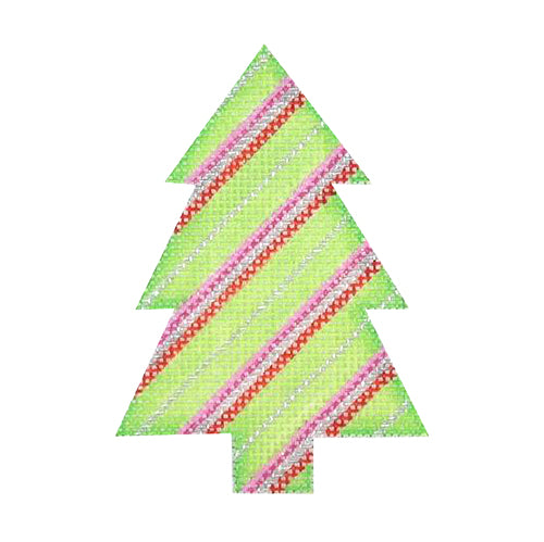 BB 0764 - Mini Tree - Green with Red, Silver & Pink Stripes
