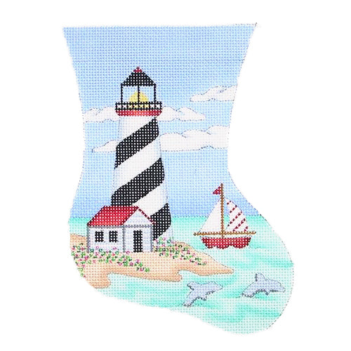 BB 0849 - Mini Stocking - Black & White Diagonal Stripes Lighthouse