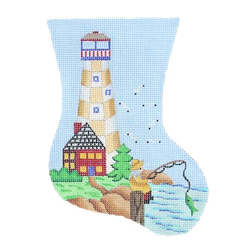 BB 0876 - Mini Stocking - Gold & White Lighthouse