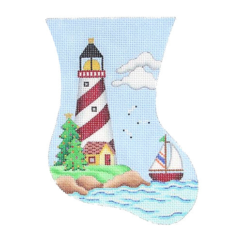 BB 0878 - Mini Stocking - Red & White Lighthouse