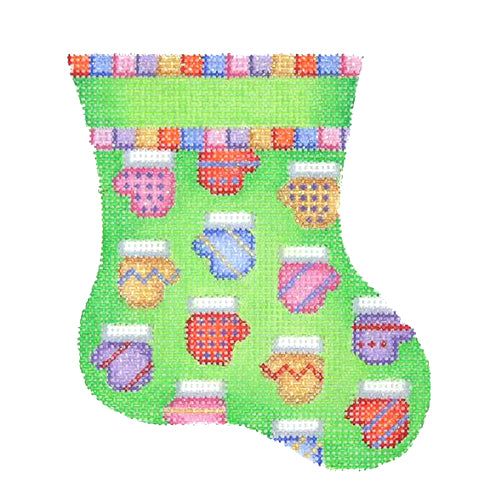 BB 1130 - Mini Stocking - Green with Mittens
