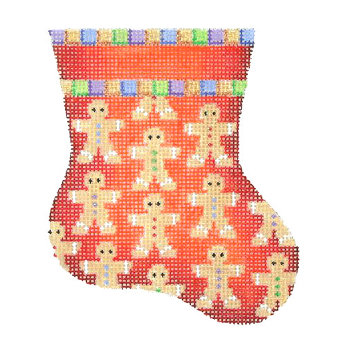 BB 1143 - Mini Stocking - Red with Gingerbread Men