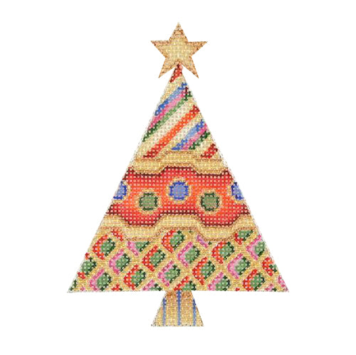BB 1238 - Triangle Tree - Red & Gold with Patterns