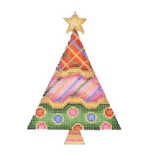 BB 1239 - Triangle Tree - Red, Fuchsia & Dark Green with Patterns