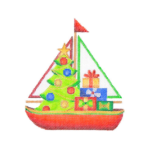 BB 1312 - Christmas by the Sea - Sailboat with Tree & Packages