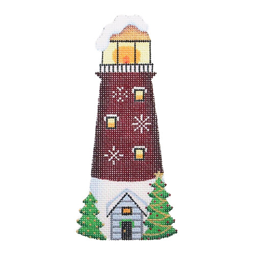BB 1320 - Christmas by the Sea - Burgundy & White Lighthouse