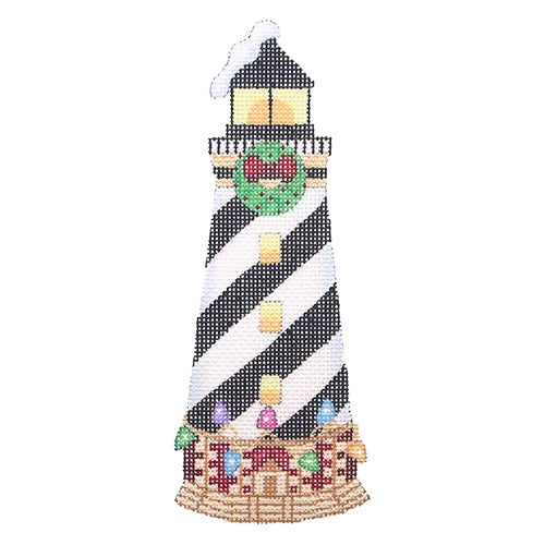 BB 1322 - Christmas by the Sea - Lighthouse with Black & White Diagonal Stripes