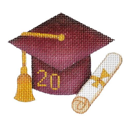 BB 1340 - Graduation Cap - Maroon with Year