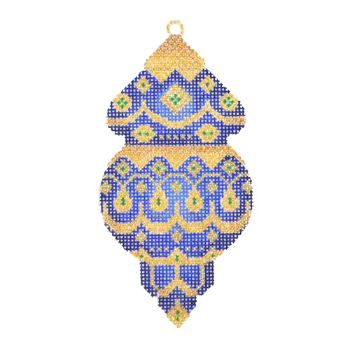 BB 1370 - Jeweled Christmas Ball - Royal Blue & Gold