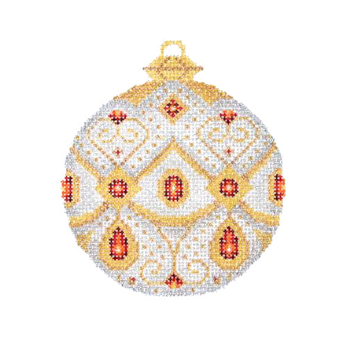 BB 1376 - Jeweled Christmas Ball - Silver & Gold