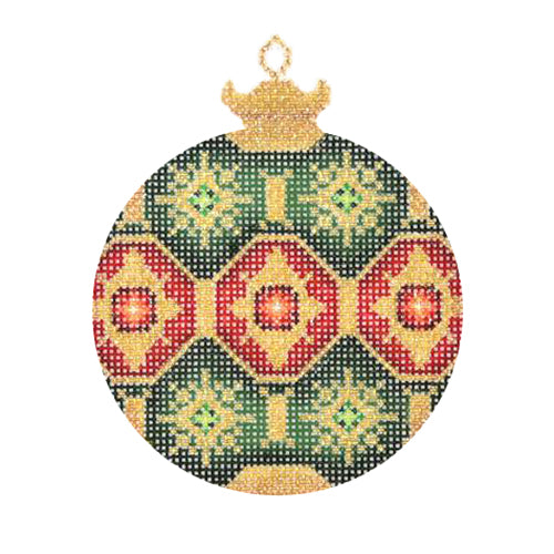 BB 1380 - Jeweled Christmas Ball - Dark Green & Gold