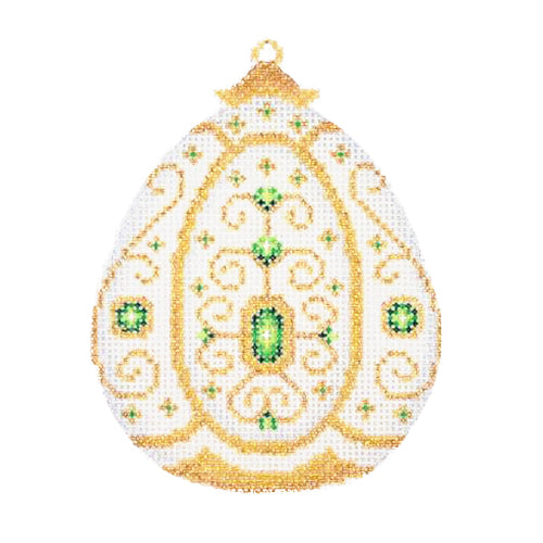 BB 1381 - Jeweled Christmas Ball - White & Gold