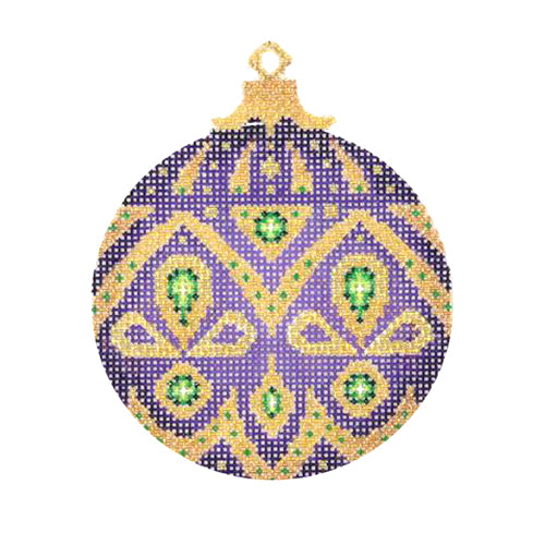 BB 1382 - Jeweled Christmas Ball - Purple & Gold