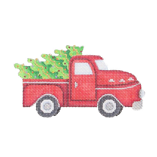 BB 1475 - Red Pickup with Tree Ornament