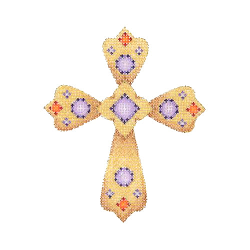 BB 1861 - Cross - Gold with Purple & Red Jewels