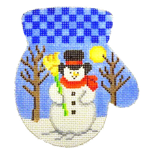 BB 2090 - Mitten - Snowman / Blue Checked Cuff (R)