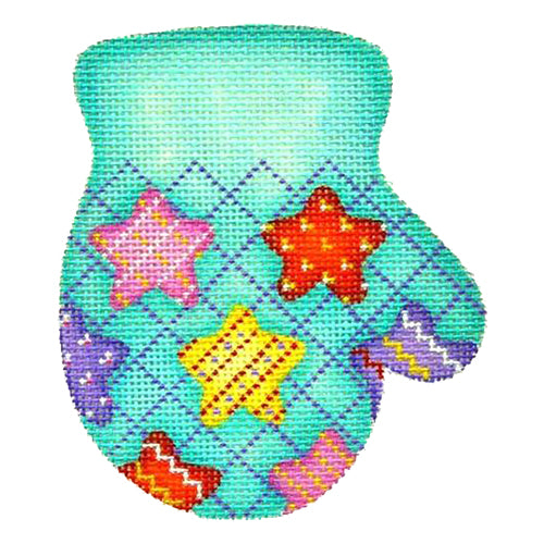 BB 2092 - Mitten - Multicolored Stars on Aqua (R)