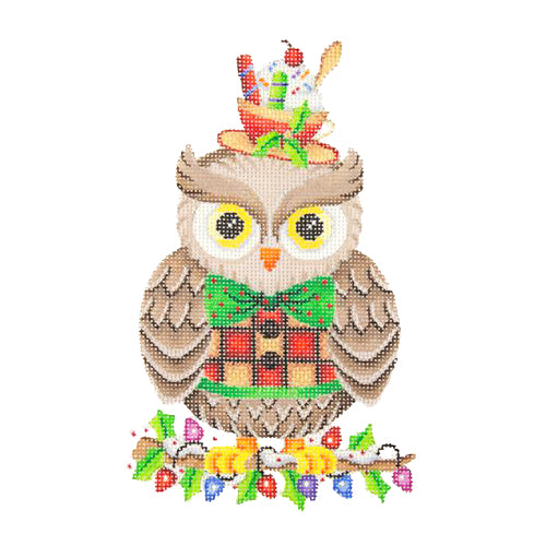 BB 2302 - Owl on Holly Branch with Tea Cup