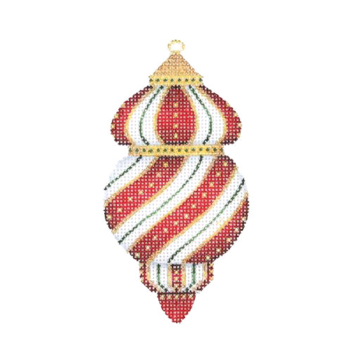 BB 2477 - Jeweled Christmas Ball - Red & Gold