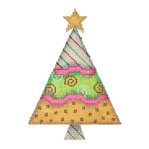 BB 2532 - Triangle Tree - Silver, Green & Gold