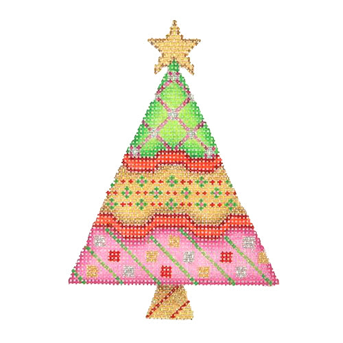 BB 2547 - Triangle Tree - Green, Gold & Pink