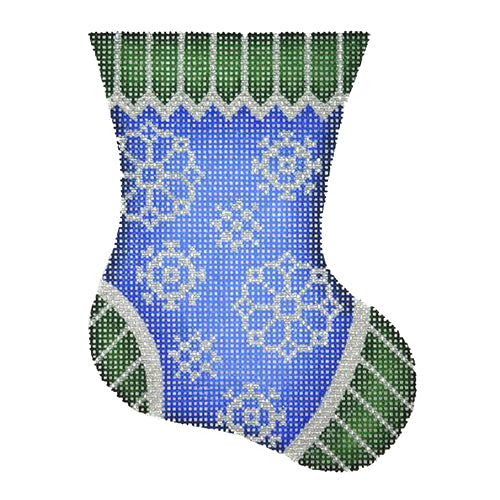 BB 2650 - Mini Stocking - Blue & Green with Snowflakes
