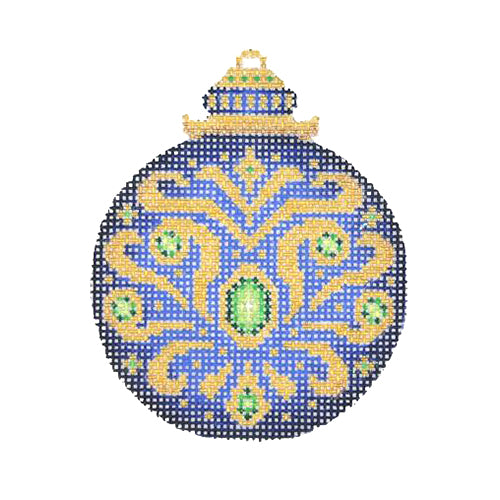 BB 2664 - Jeweled Christmas Ball - Blue & Gold