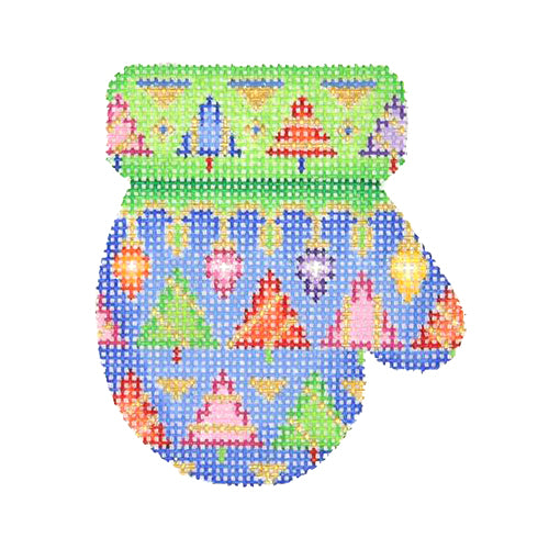 BB 2665 - Mitten - Blue & Green with Lights & Trees (R)