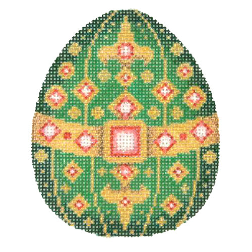 BB 2685 - Jeweled Egg - Green & Gold