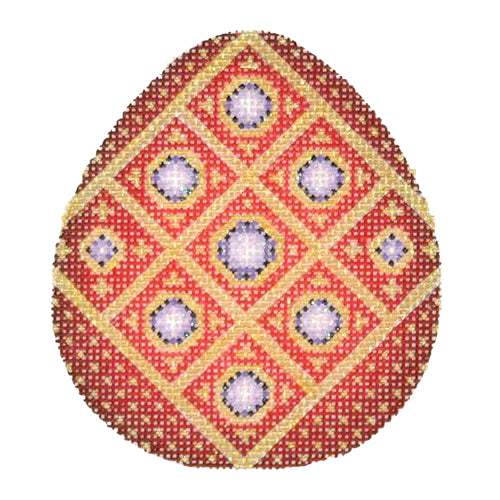 BB 2695 - Jeweled Egg - Red & Gold