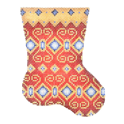 BB 2711 - Mini Stocking - Red with Blue Jewels