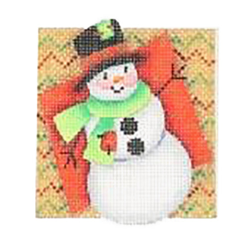 BB 2737 - Double Patterned Squares Ornament - Snowman