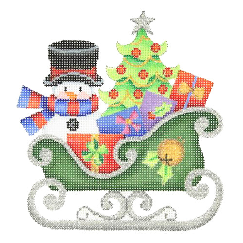 BB 2760 - Dark Green Sleigh - Snowman & Tree