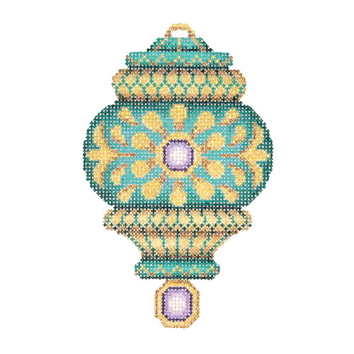 BB 2775 - Jeweled Christmas Ball - Aqua & Gold