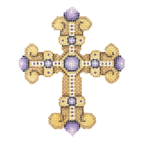 BB 2869 - Cross - Gold with Purple Jewels