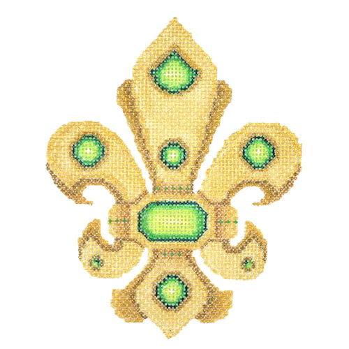 BB 2942 - Fleur de lis - Gold with Green & Jewels