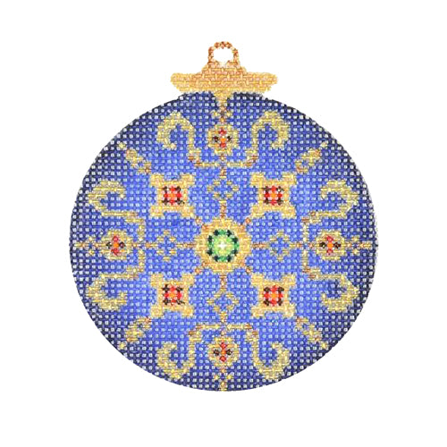 BB 2990 - Jeweled Christmas Ball - Blue & Gold with Green & Red Jewels