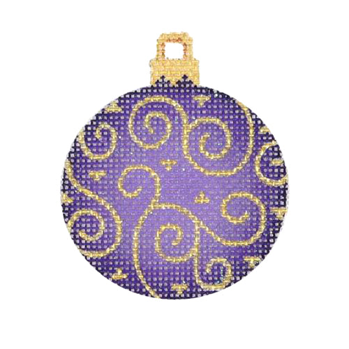 BB 3013 - Mini Christmas Ball - Purple with Gold Swirls