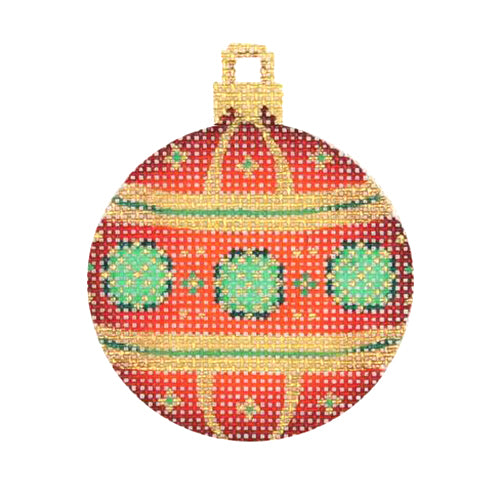 BB 3021 - Mini Christmas Ball -  Red, Green & Gold Pattern