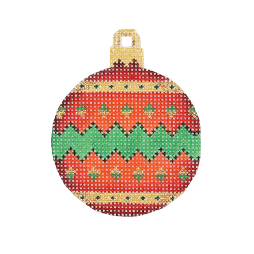 BB 3022 - Mini Christmas Ball - Red, Green & Gold Pattern