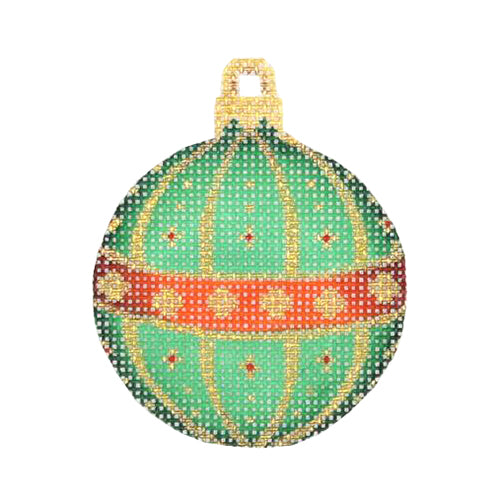 BB 3023 - Mini Christmas Ball - Red, Green & Gold Pattern