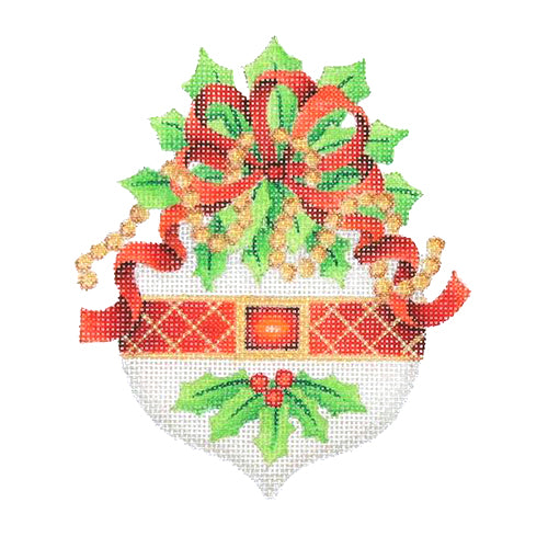 BB 3070 - Jeweled Christmas Ornament - White with Holly & Red Bow