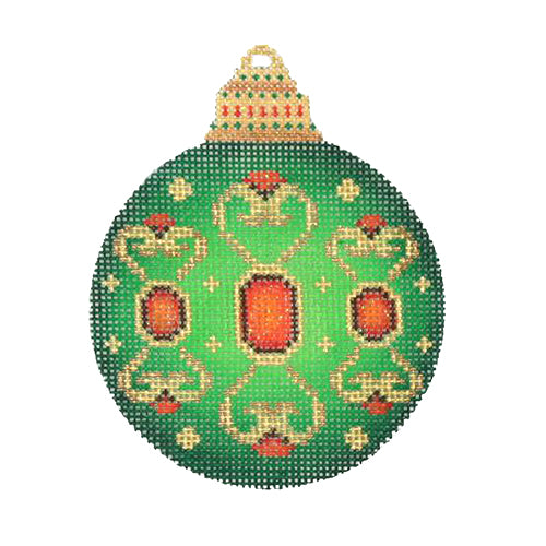 BB 3130 - Jeweled Christmas Ball - Green with Red Jewels